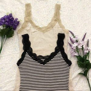 2 Uniqlo lacy striped camis